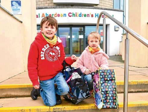 Brothers Ollie, 8, and Harry, 5, from Turriff took several Playmobil sets to the Royal Aberdeen Children's Hospital.