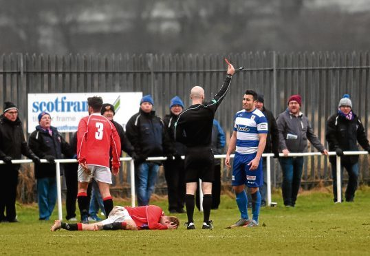 Dyce's Tom Yeats being sent off after two bookable offences. Picture by Darrell Benns
