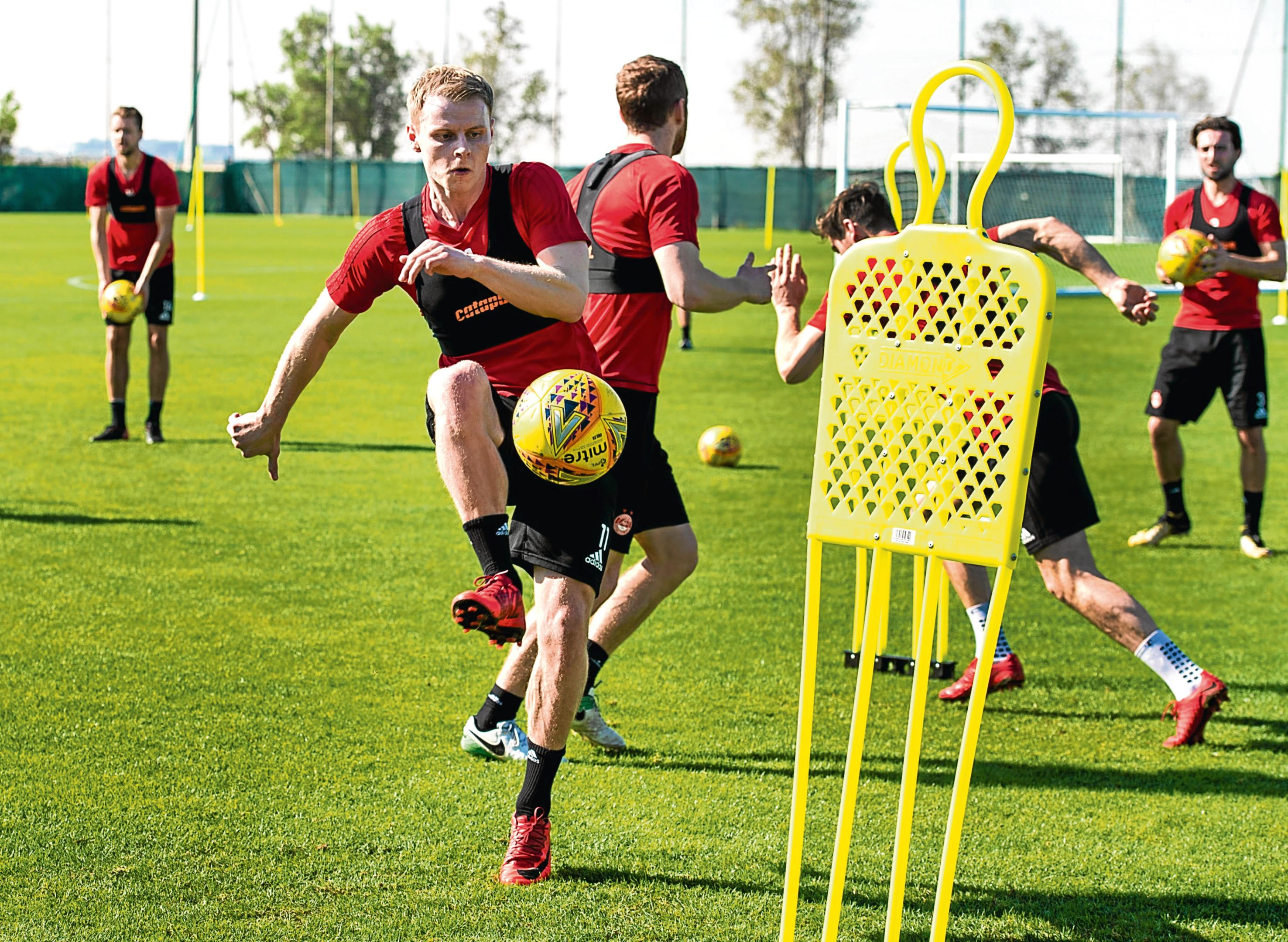 Aberdeen's Gary Mackay-Steven trains in Dubai.