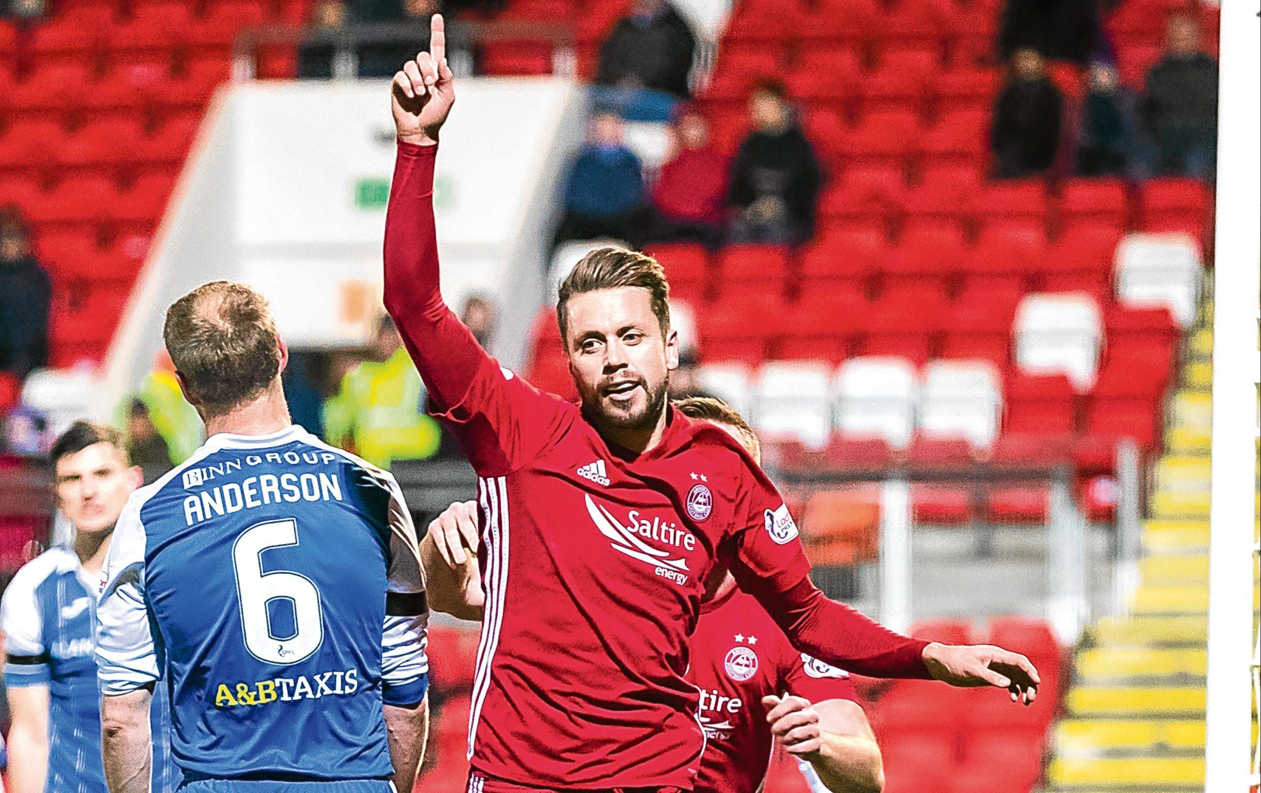 Aberdeen's Kari Arnason after scoring against St Johnstone.