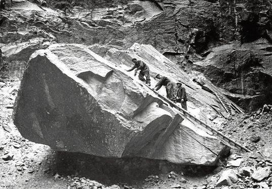 1956: A 1,000-tonne granite block at Kemnay Quarry, owned by John Fyfe Ltd.