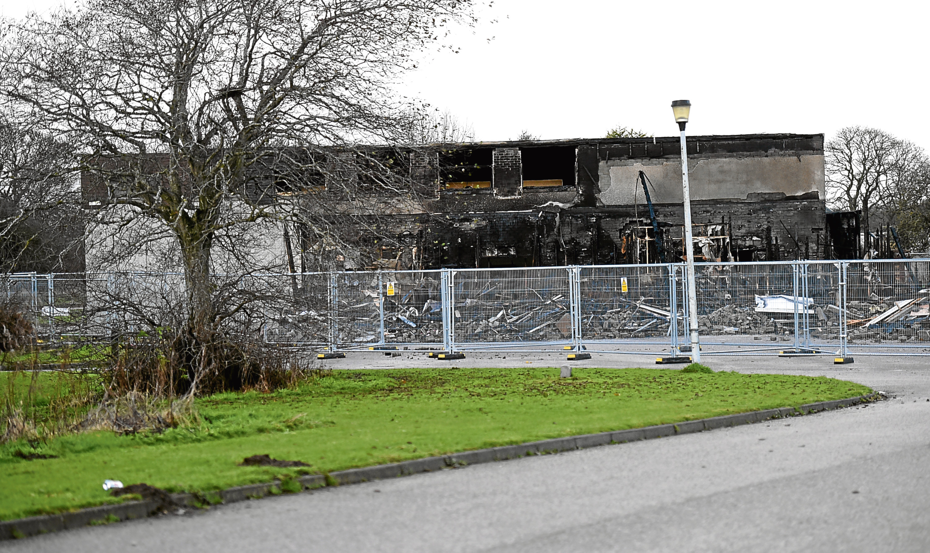 Cordyce School in Dyce after the fire.