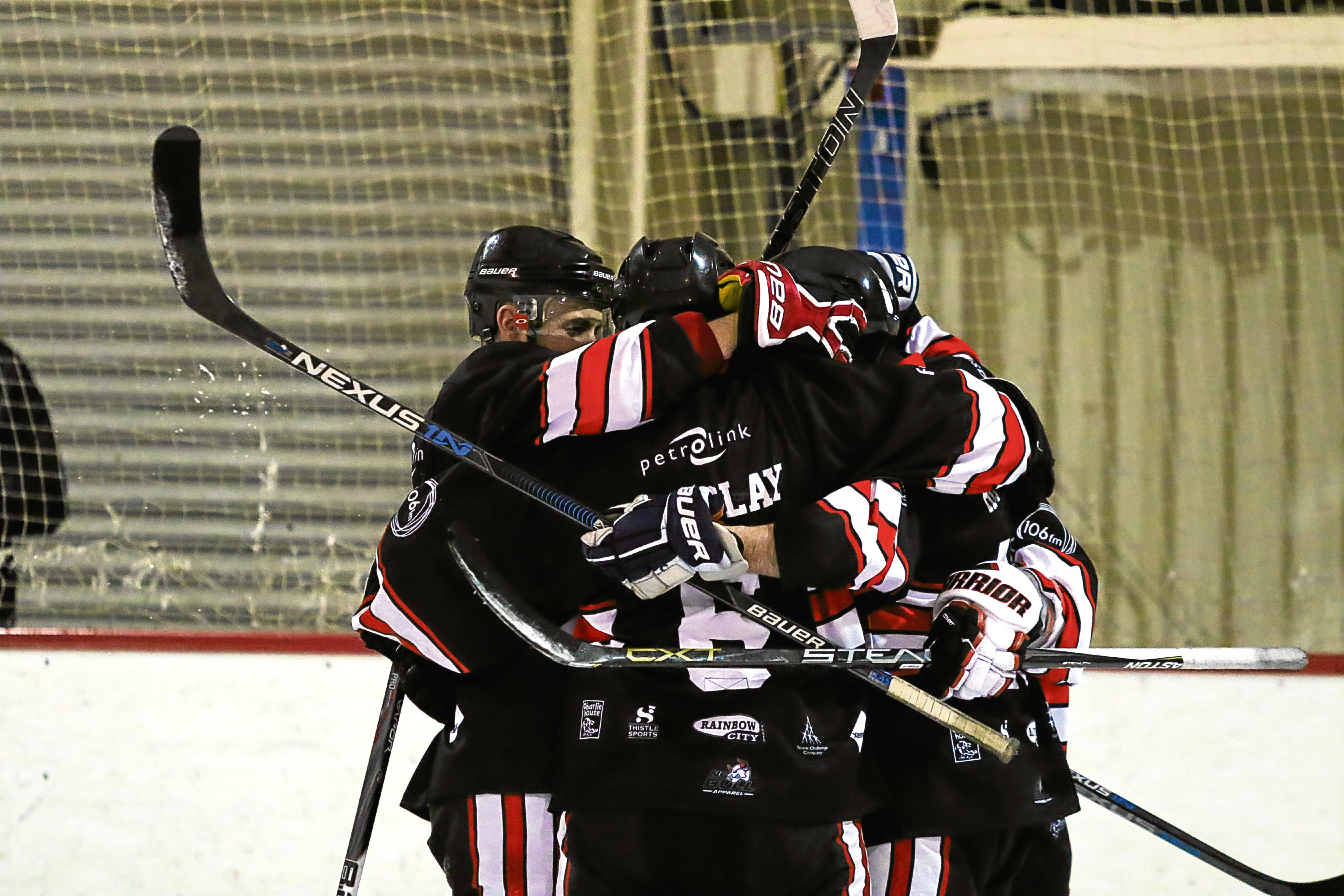 Aberdeen Lynx celebrate against Moray Typhoons.  Picture by Ferguson Photography