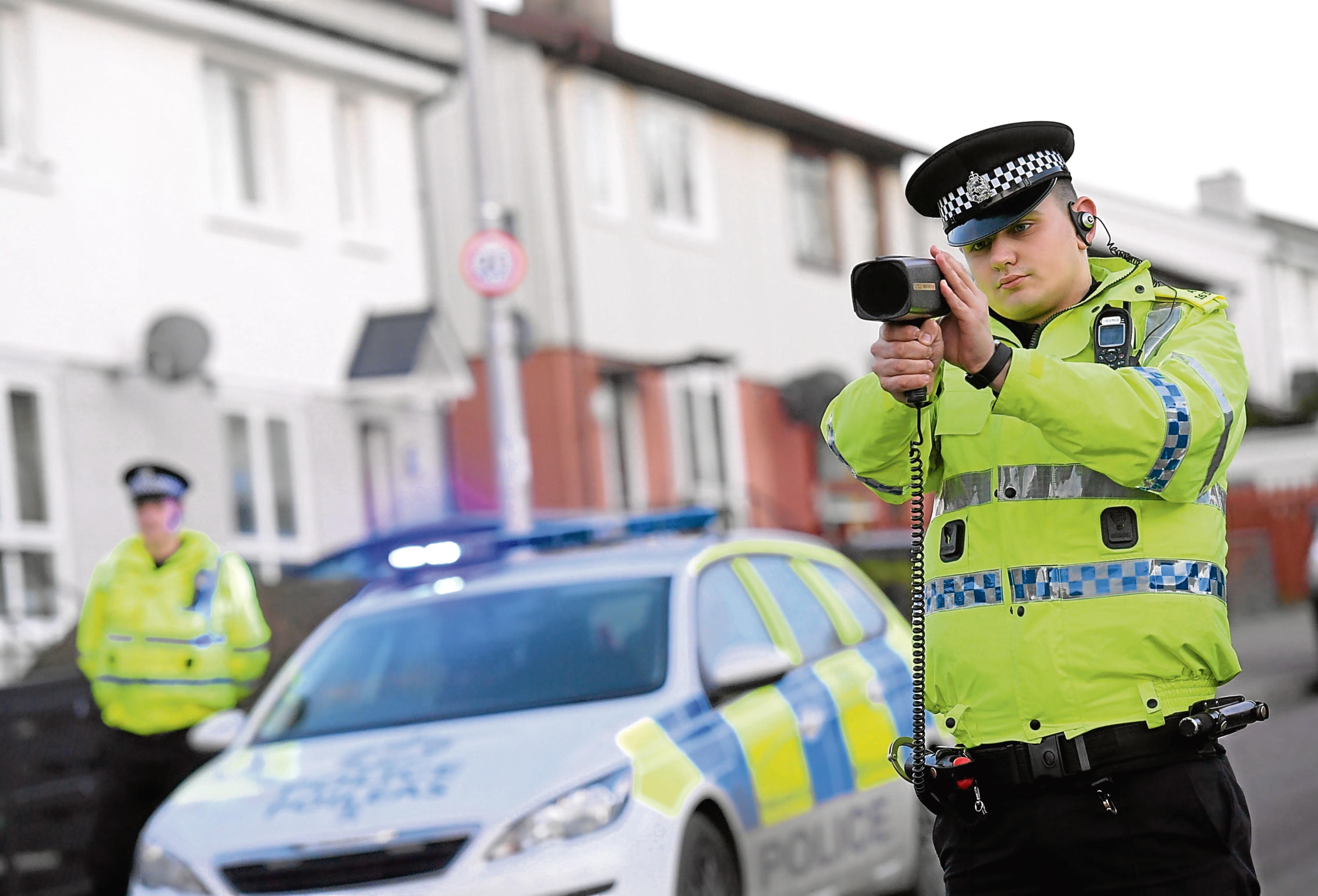 Police officers carrying out speed checks in Northfield