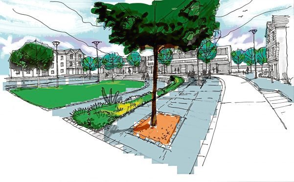 A drawing showing how the community development at Crichie, Inverurie, could look.