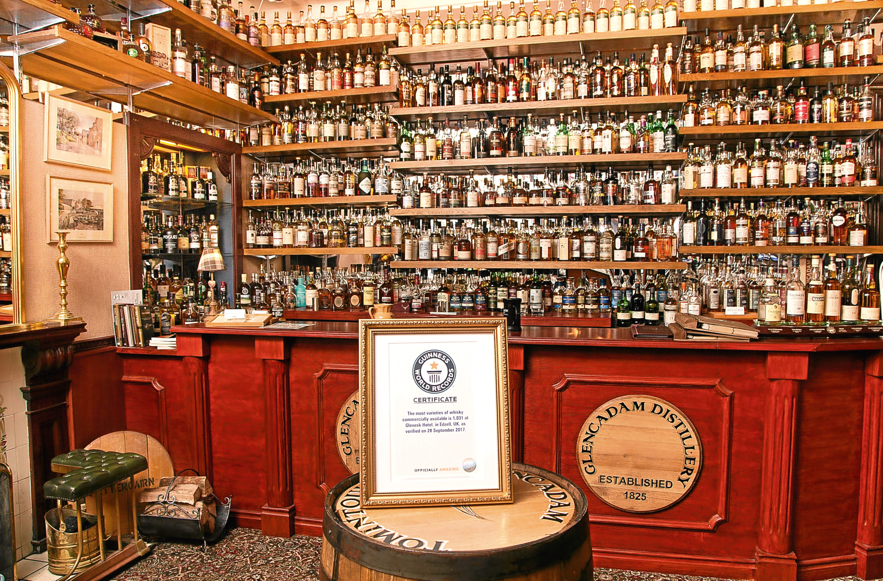 The Glenesk Hotel offers 1,031 whisky varieties.