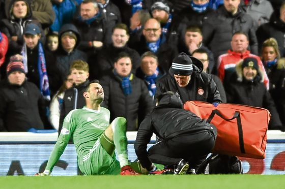 Scottish Premiership Glasgow Rangers FC v Aberdeen Football Club Ibrox Stadium, Glasgow Pictured is Aberdeen's Joe Lewis who was substituted after injury. Picture by DARRELL BENNS    Pictured on 24/01/2018