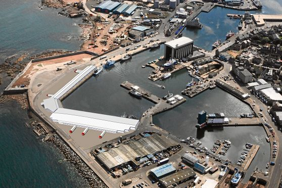 An artist's impression of Peterhead £40m harbour extension plans    (submitted pics)