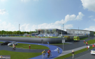 An artist impression of what the new sports centre could look like.