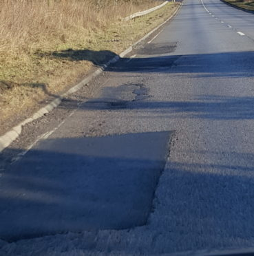 Potholes on the A90