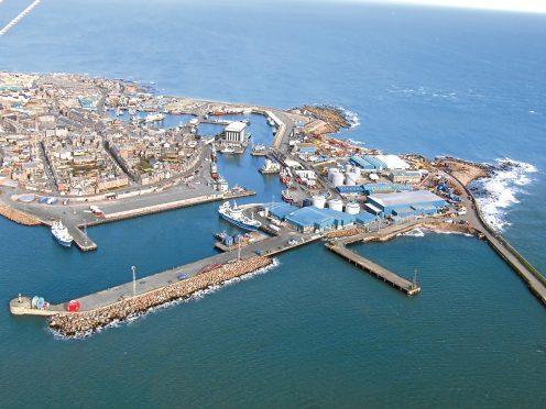 Aerial view of Peterhead port