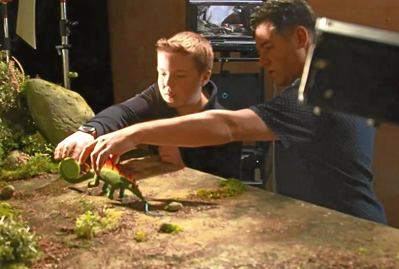 Rory Milne (left) with Aardman animator Andy Symanowski.