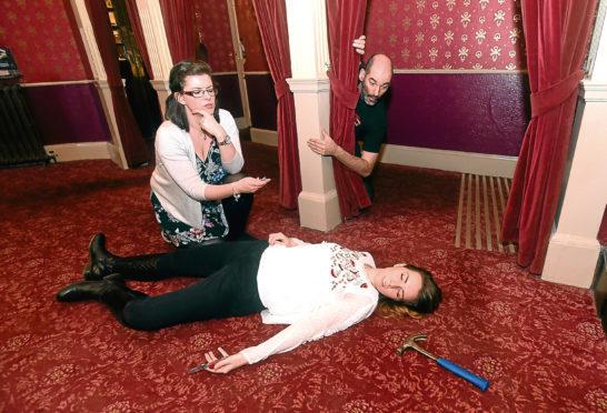 Alison Telfer and Dan Greavey and 'murder victim' Bethany Hogg.