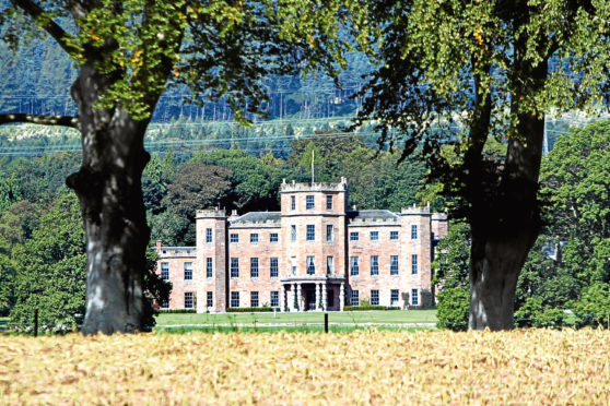 Kris Miller, Courier, 08/09/14. Picture today shows the exterior of Fasque House, Fettercairn for story about design awards. (Gates to estate were locked up so this was as clsoe as could get.)