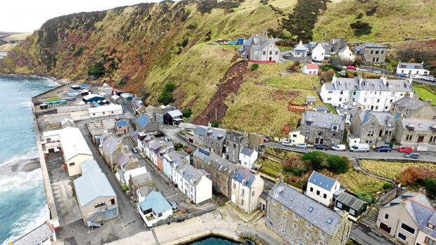 Gardenstown New Church and Harbour Road in Gardenstown is closed following a landslip.
