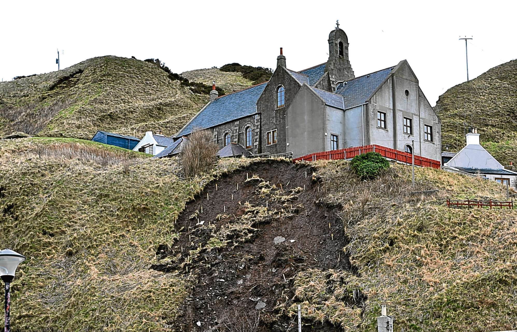 The site of the landslip at Gardenstown.