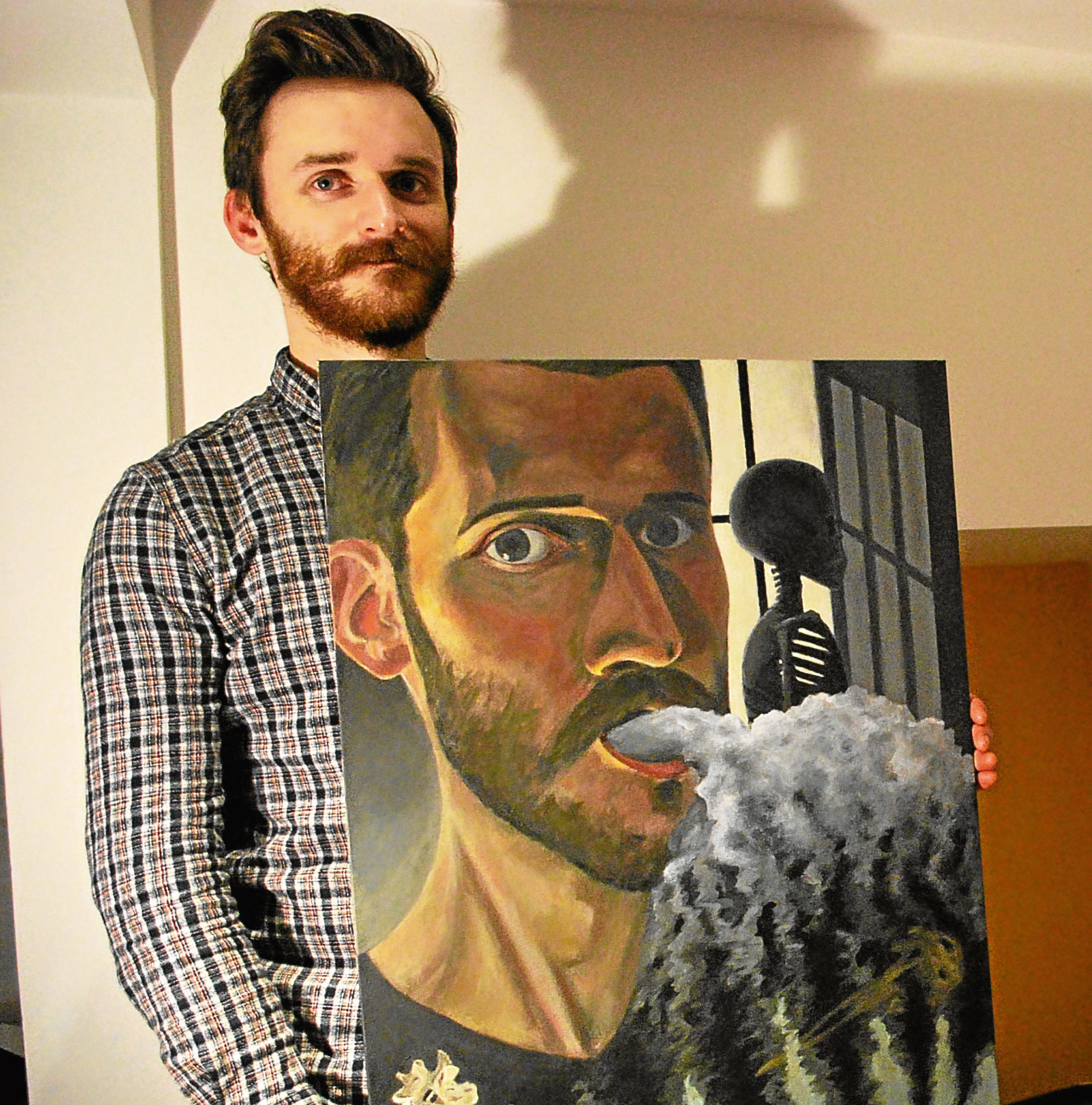 Thomas Hyman with one of his artworks.