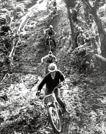 1966: Riders during one of the motorcycle scramble races at Culter.