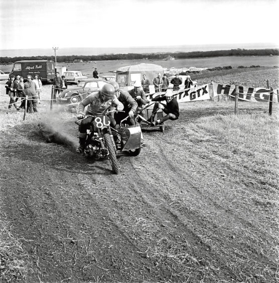 1969: Competitors from the Bon Accord Motor Cycle Club in the motorcycle and sidecar race.