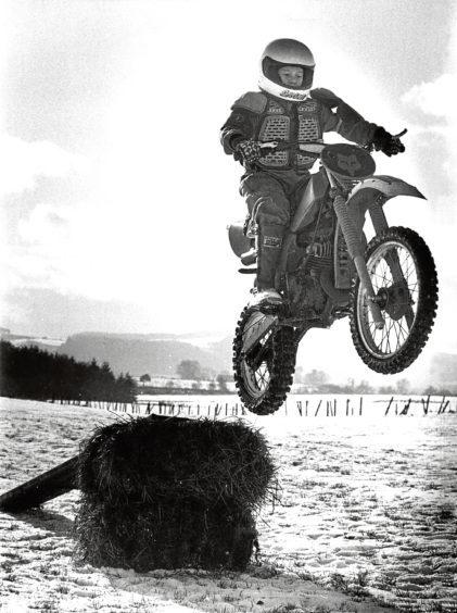 1986: Keith Duncan, 12, flies through the air at his dad's farm at Woodside, Drumoak.