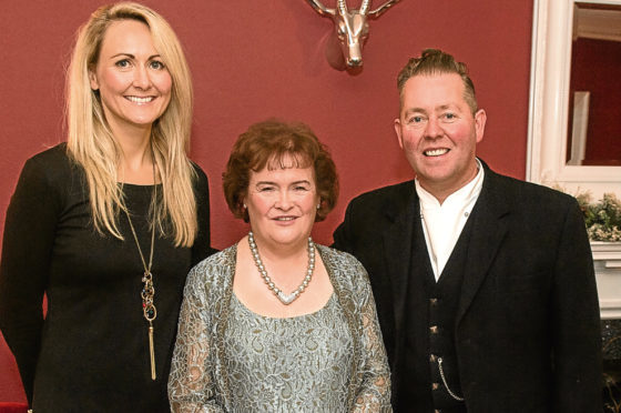 Eat on the Green's Lindsay Wilson, left, and Craig Wilson, right, with singing sensation Susan Boyle.