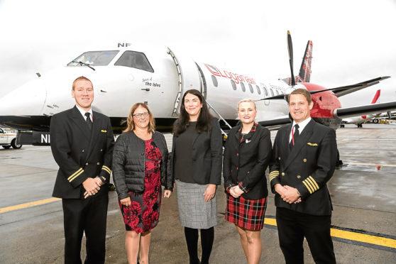 Logan Air and Aberdeen International Airport representatives at last year's launch