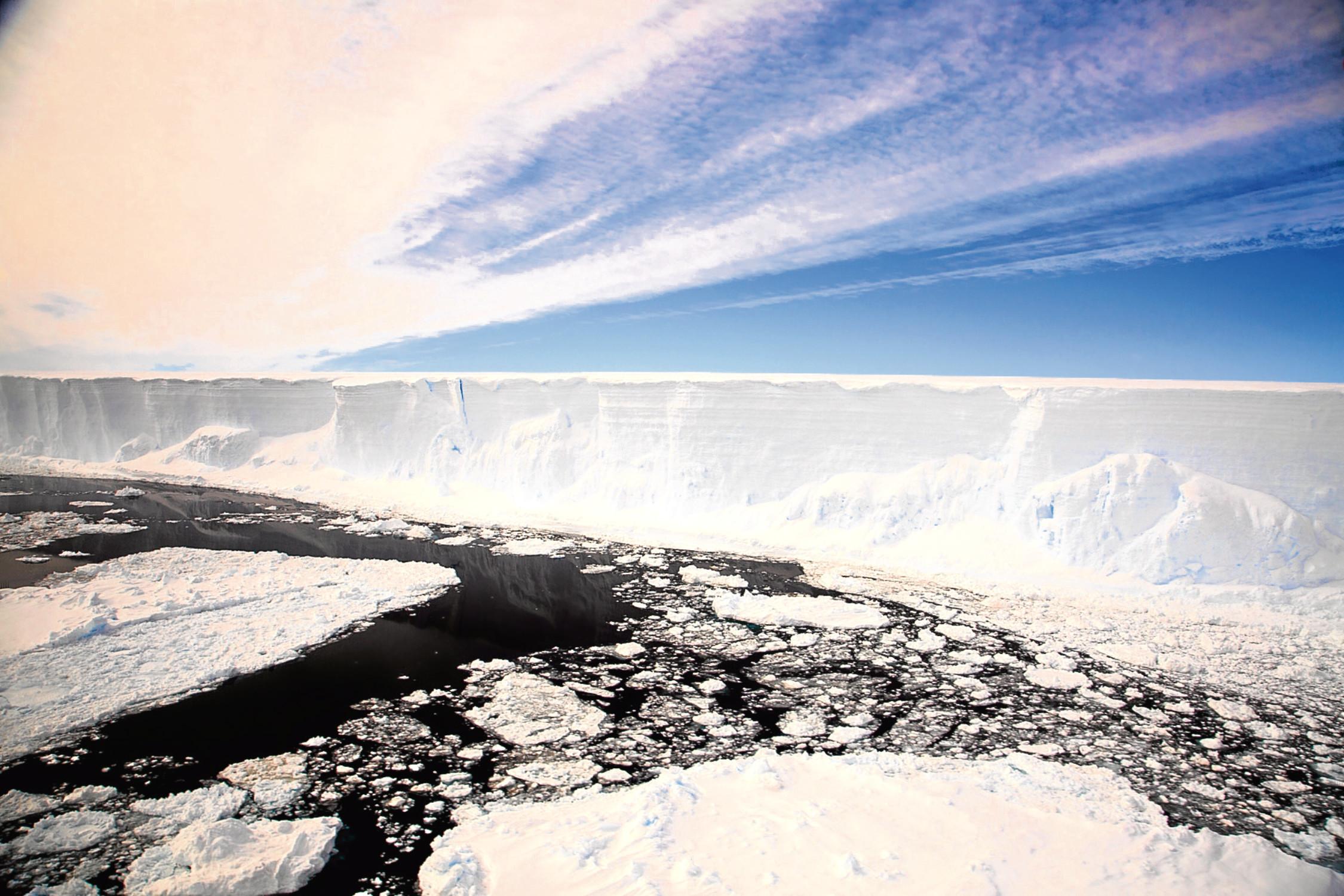 The Larsen C iceberg in Antarctica.
