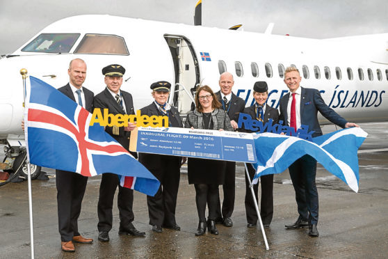 The launch of the Icelandair Aberdeen to Reyjkavik route in 2016.
