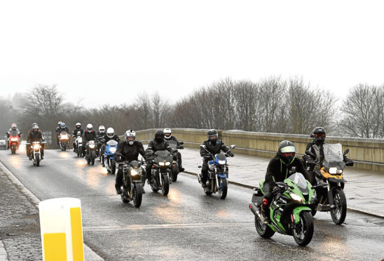 A motorbike convoy crossed the River Dee for Jaxon.