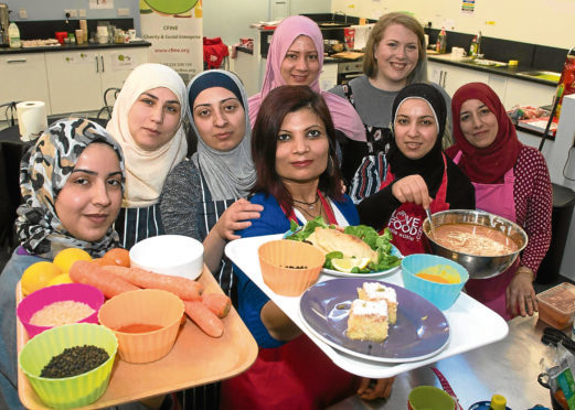 A group of Syrian woman got together to cook traditional Syrian food for Aberdeen Cyrenians as a thank you for how they have been welcomed into the Aberdeen.