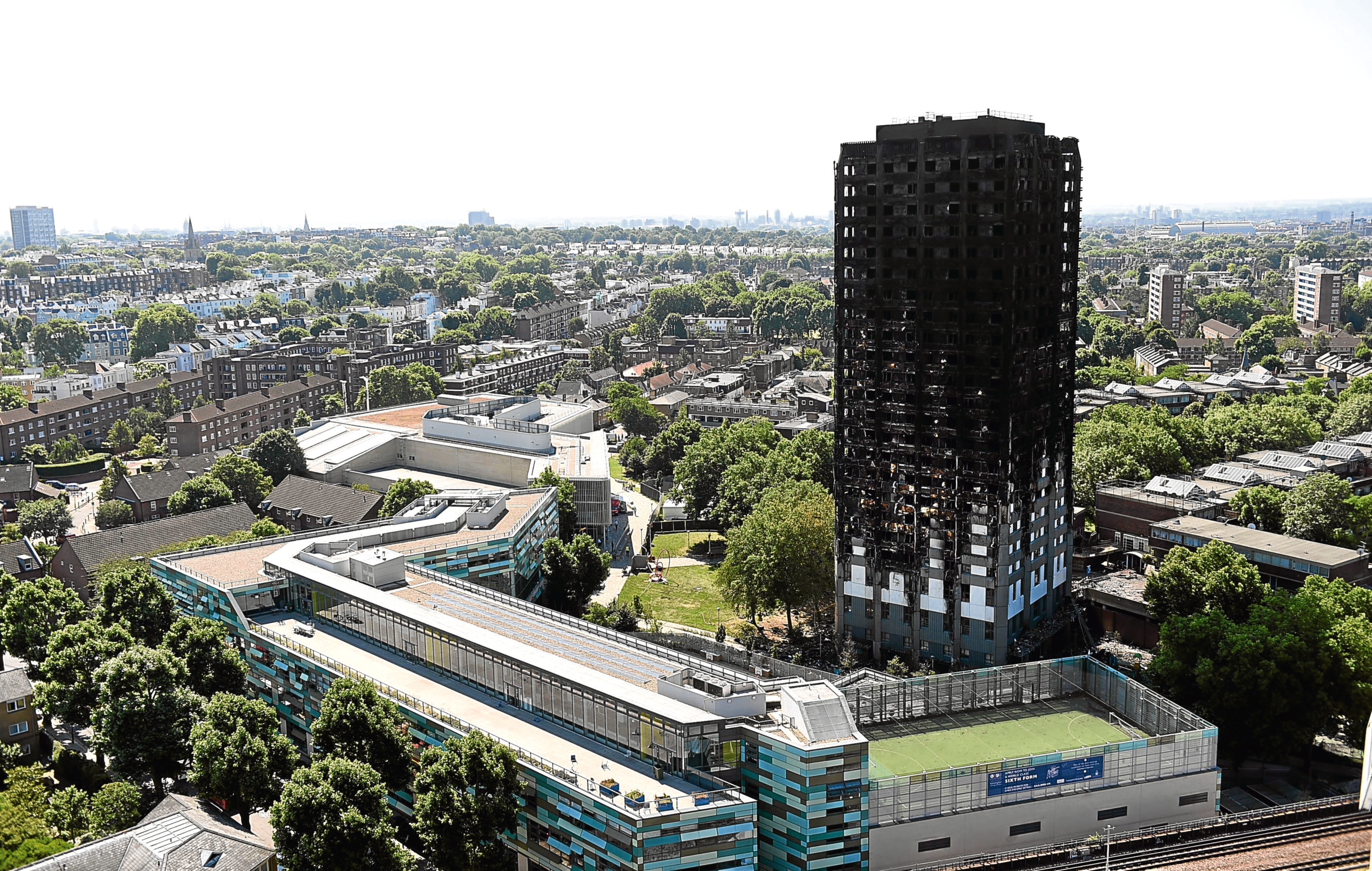 The remnants of Grenfell Tower after the blaze.
