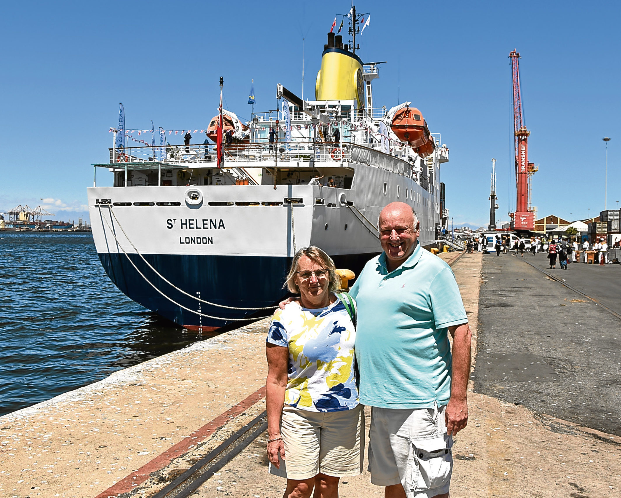 Martin and Sue Parrott before they left Cape Town on RMS St Helena's final voyage