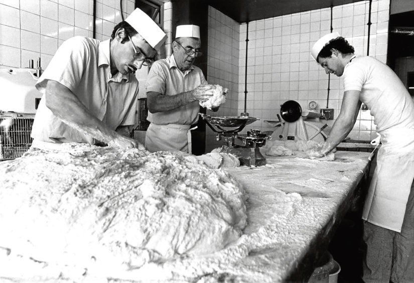 1984: From left, Adam Duguid, David Mair and Brian McIntosh at Chalmers' Bakery in Bucksburn.
