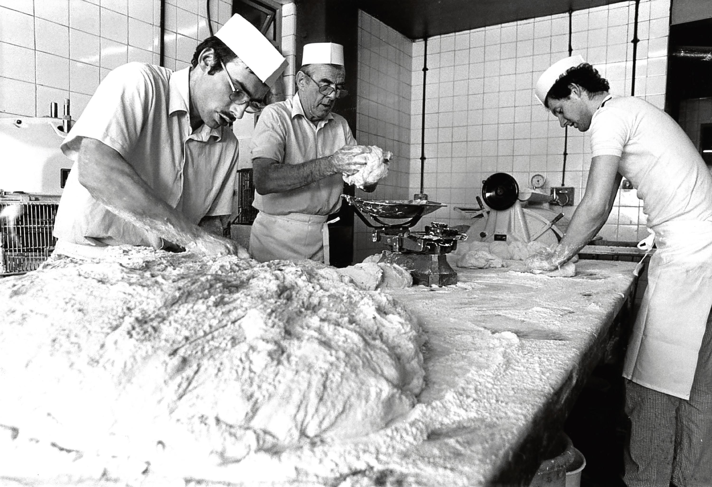 1984: From left, Adam Duguid, David Mair and Brian McIntosh at Chalmers' Bakery in Bucksburn.