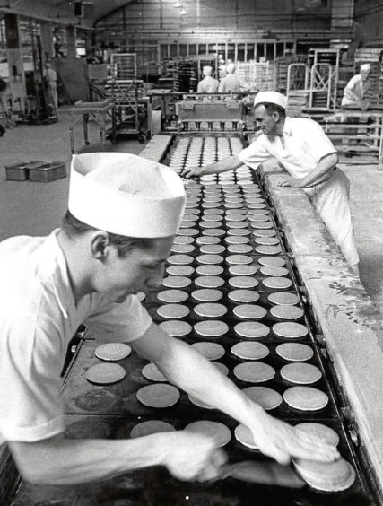 1969: Pancake making at Strathdee's Bakery, Quarryhill Road, Northfield.
