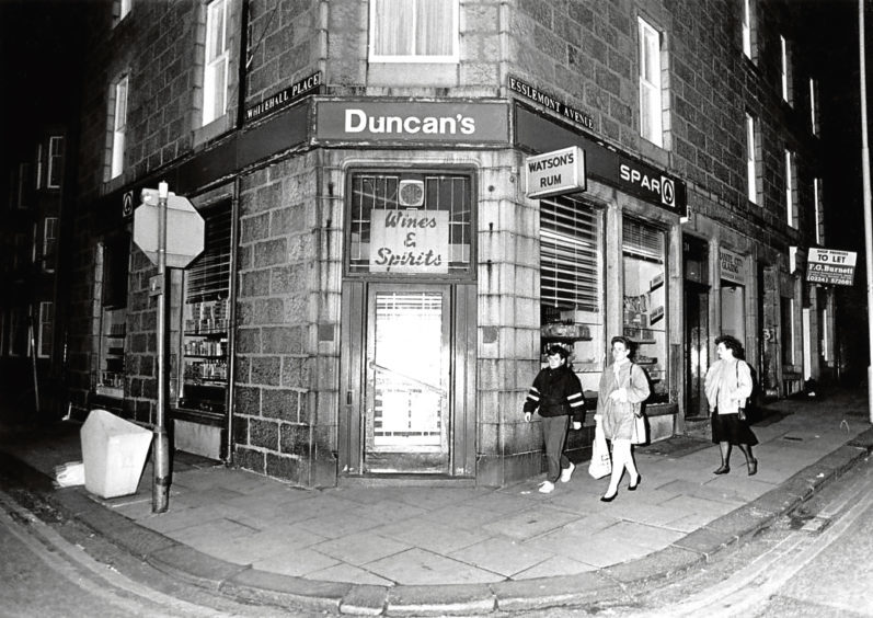 1989: the licensed grocer's shop owned by Duncan's Bakery at the junction on Esslemont Avenue and Whitehall Place.