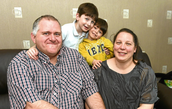 Kerry-Ann  with husband Craig and sons Nathan, 7, and Niall, 2.