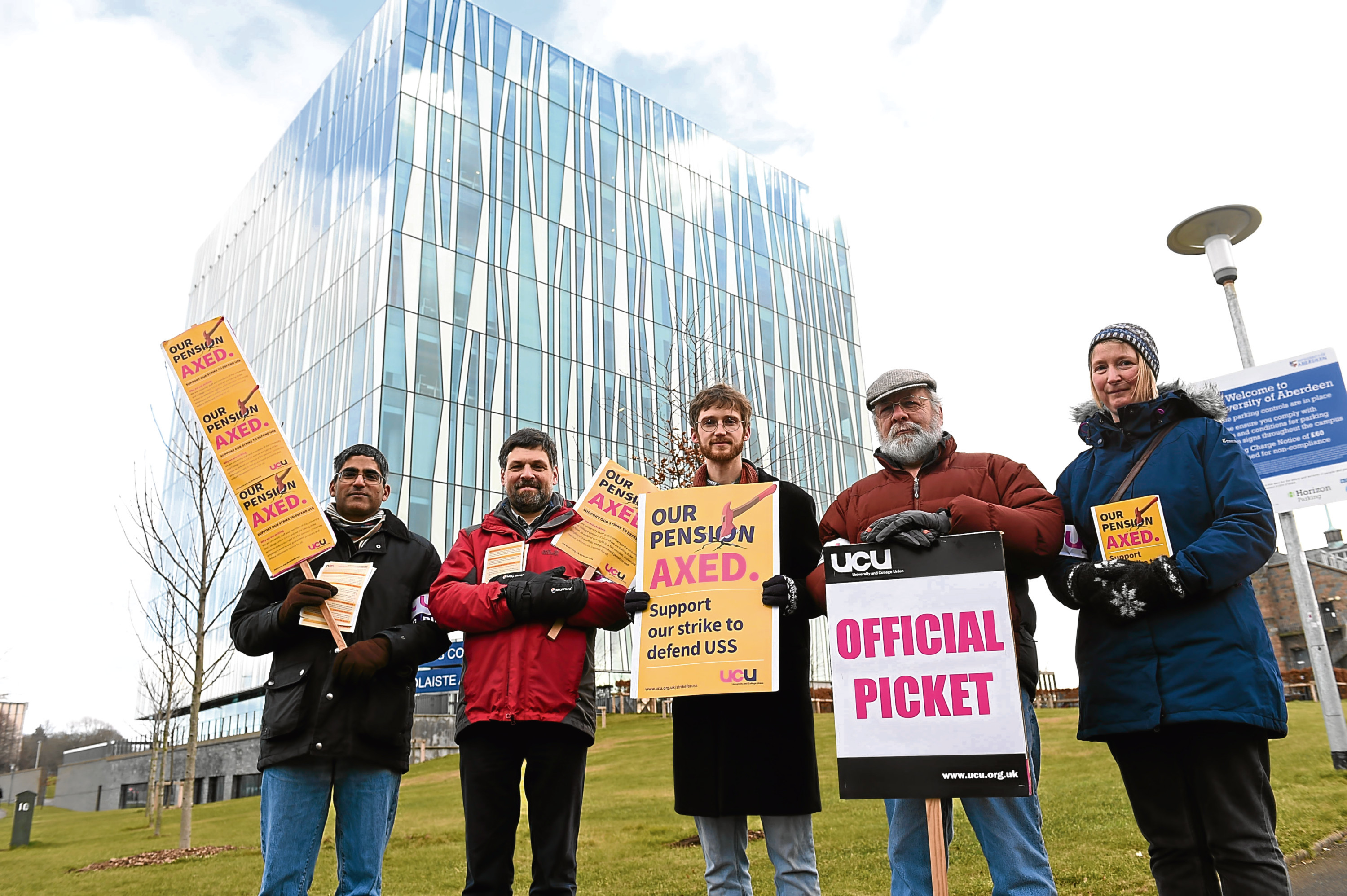 UCU members picketing at the University of Aberdeen.