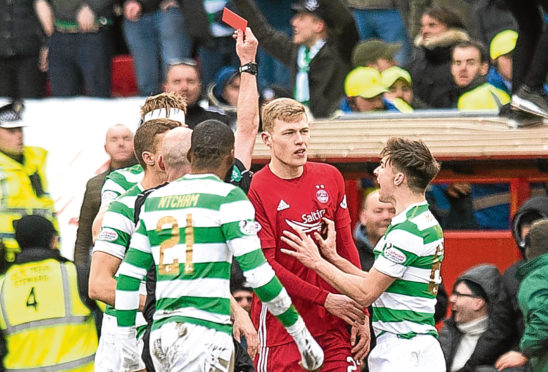 Aberdeen's Sam Cosgrove is sent off by referee Bobby Madden against Celtic in February 2018.