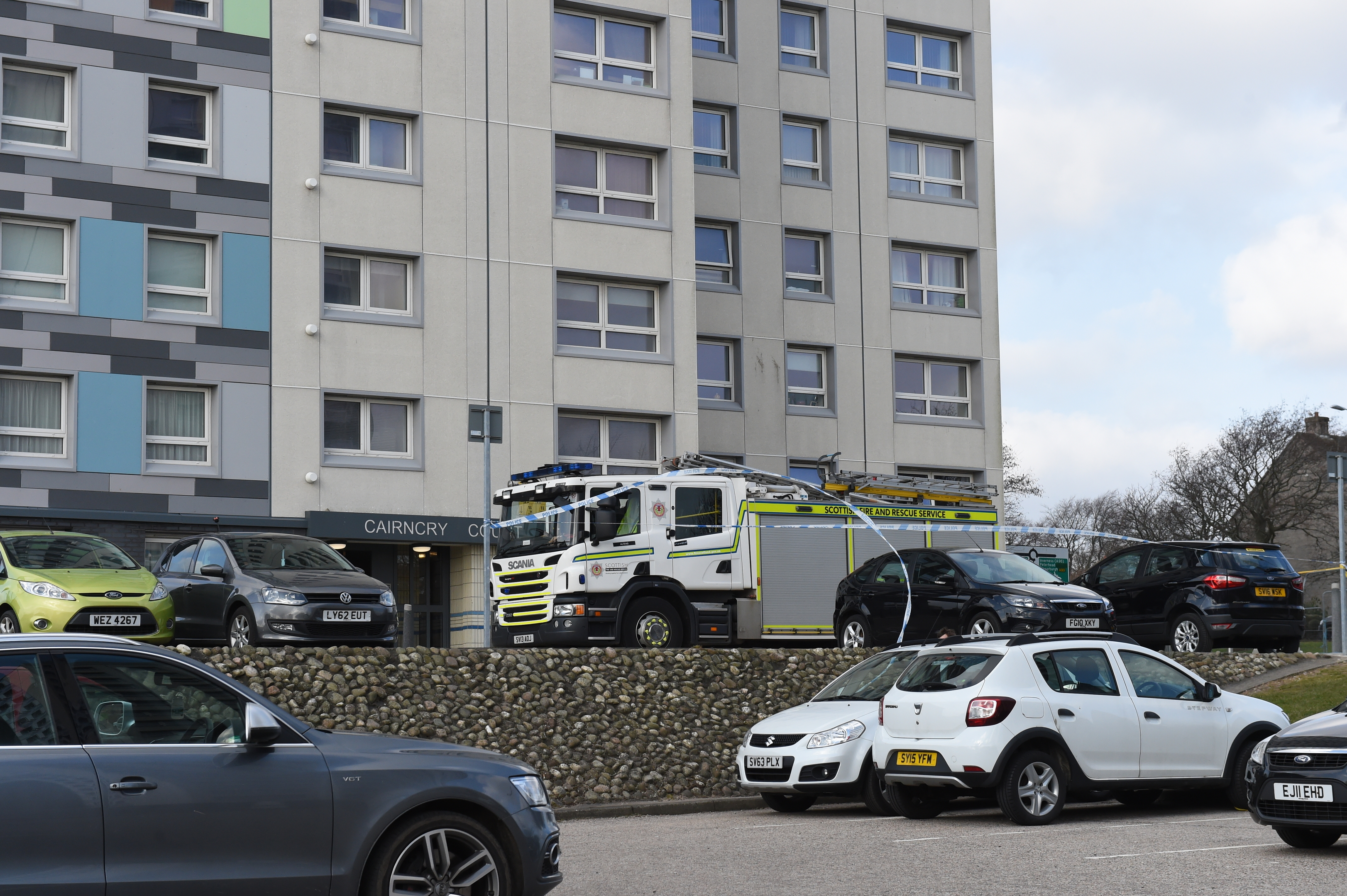 Fire crew at Cairncry Court.