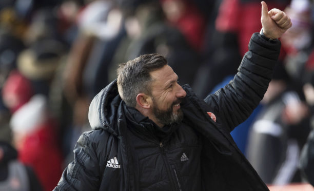 Derek McInnes at the final whistle against Dundee.