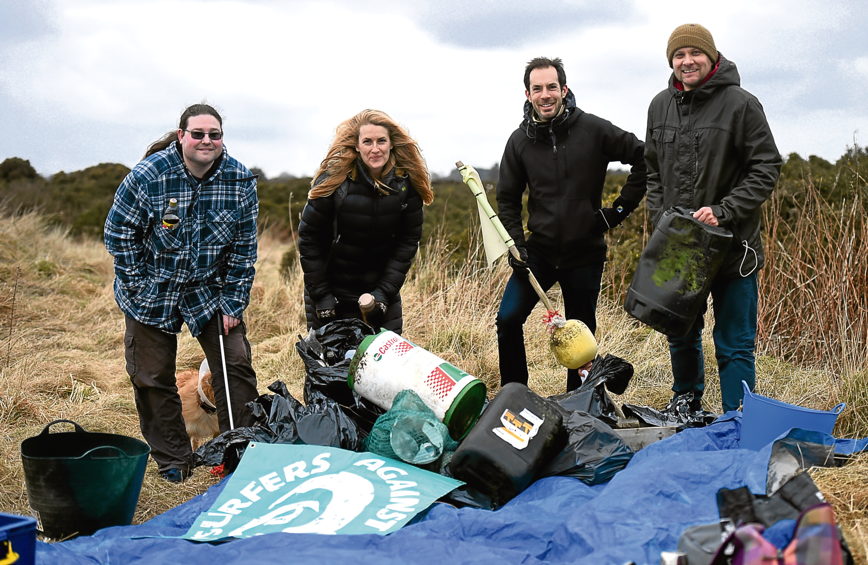 Beach Clean- Newburgh Beach. Pictured from left, Matthew Pengelly, Volunteer, Jenny Smith, Regional representitive at Surfers Against Sewage, Alex Brown, Volunteer and Andrew Wilkie, Surfer Against Sewage Rep. 25/02/18 Picture by HEATHER FOWLIE