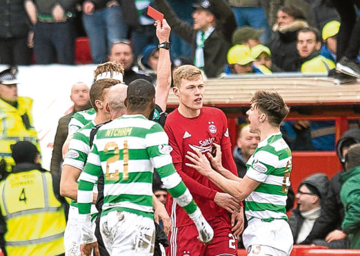 Aberdeen's Sam Cosgrove is sent off by referee Bobby Madden.