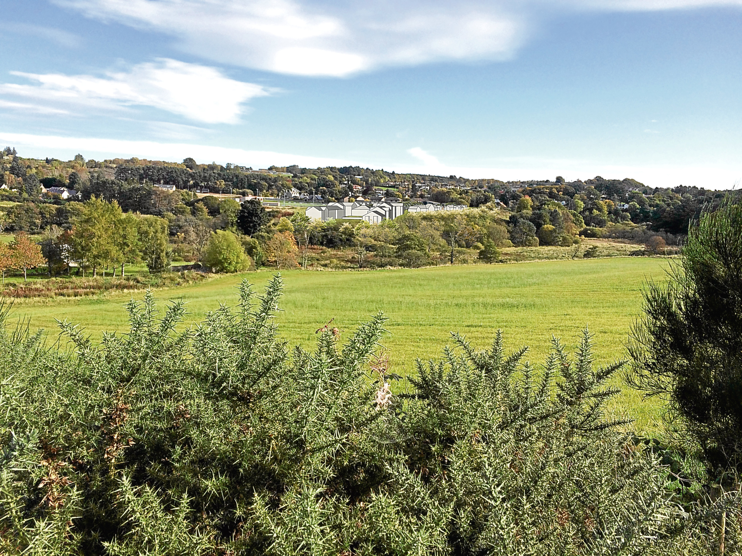An artist's impression of the proposed development site at Peterculter, taken from North Deeside Road.