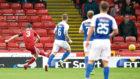 Aberdeen's Graeme Shinnie scores to make it 1-0 against Kilmarnock.