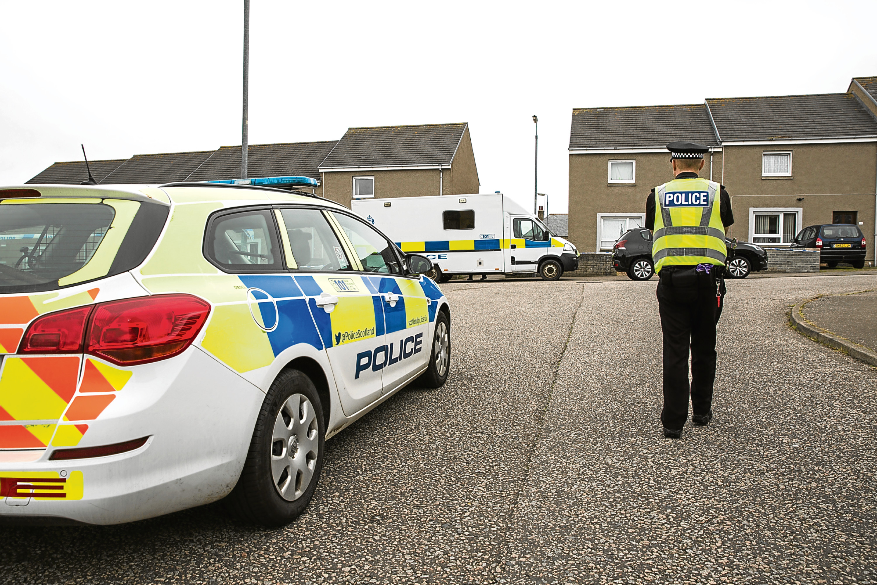 Police at the scene at Fernie Place in Fraserburgh