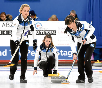 The women in the World Junior Curling Championships 2018 at Curl Aberdeen, Lang Stracht, Aberdeen. In the picture are from left: Leeanne McKenzie Rebecca Morrison and Hailey Duff.  Picture by Jim Irvine  4-3-18
