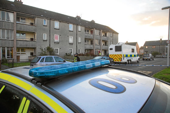Police at Arnage Place in Aberdeen.