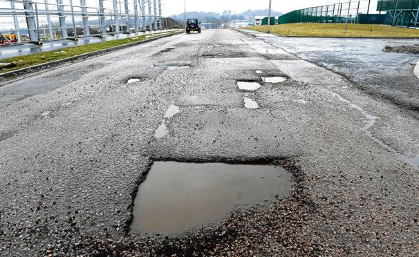 Potholes at Balmacassie Industrial Estate, Ellon.