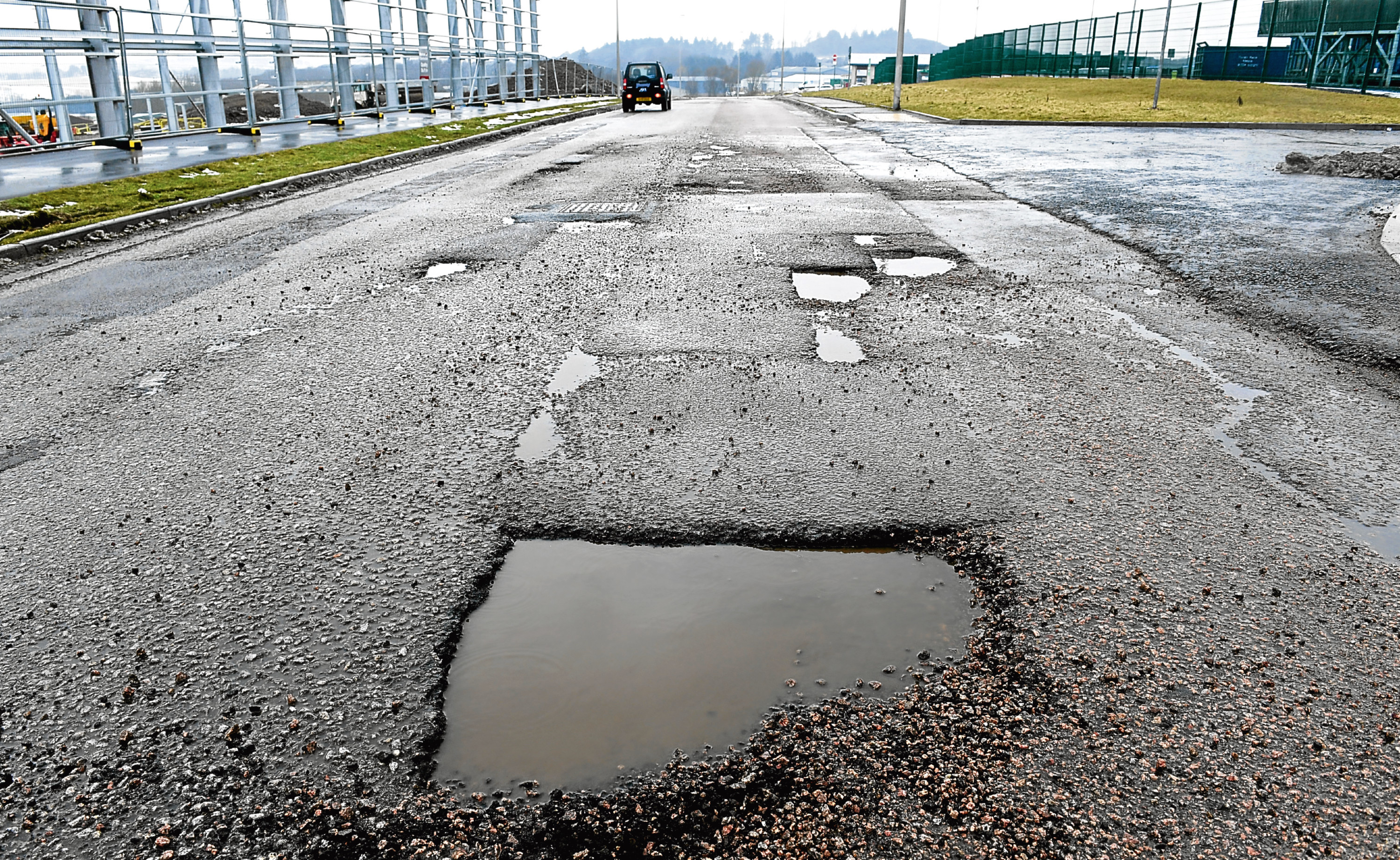 Potholes at Balmacassie Industrial Estate, Ellon.